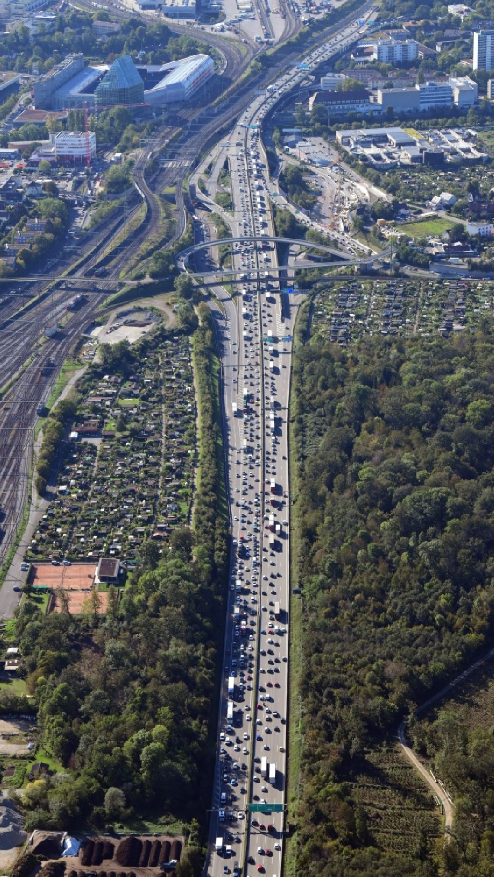 Muttenz from above - Highway congestion along the route of the lanes of the swiss motorway A2 / A3Autobahn in Muttenz in the canton Basel-Landschaft, Switzerland.