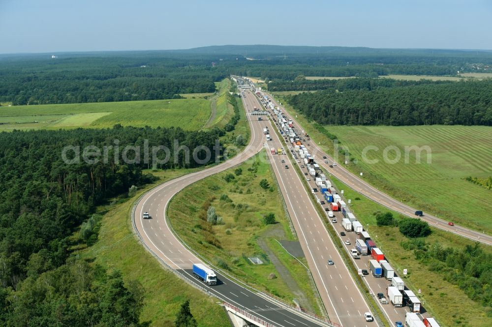 Michendorf from the bird's eye view: Highway triangle the