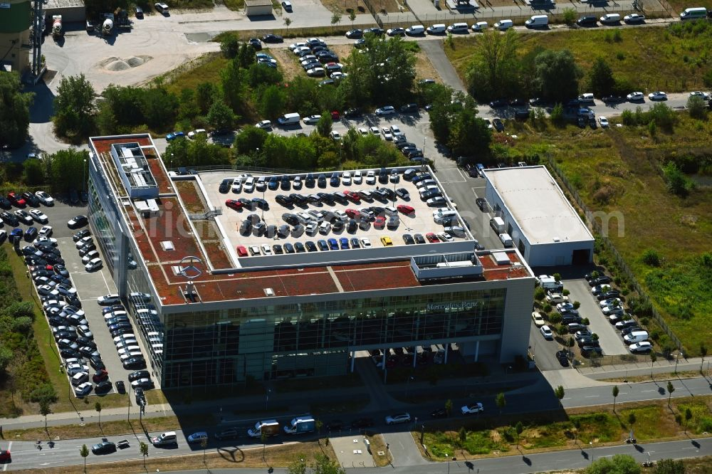 Schönefeld from above - Car dealership building Mercedes-Benz Niederlassung Berlin on Hans-Grade-Allee in Schoenefeld in the state Brandenburg, Germany