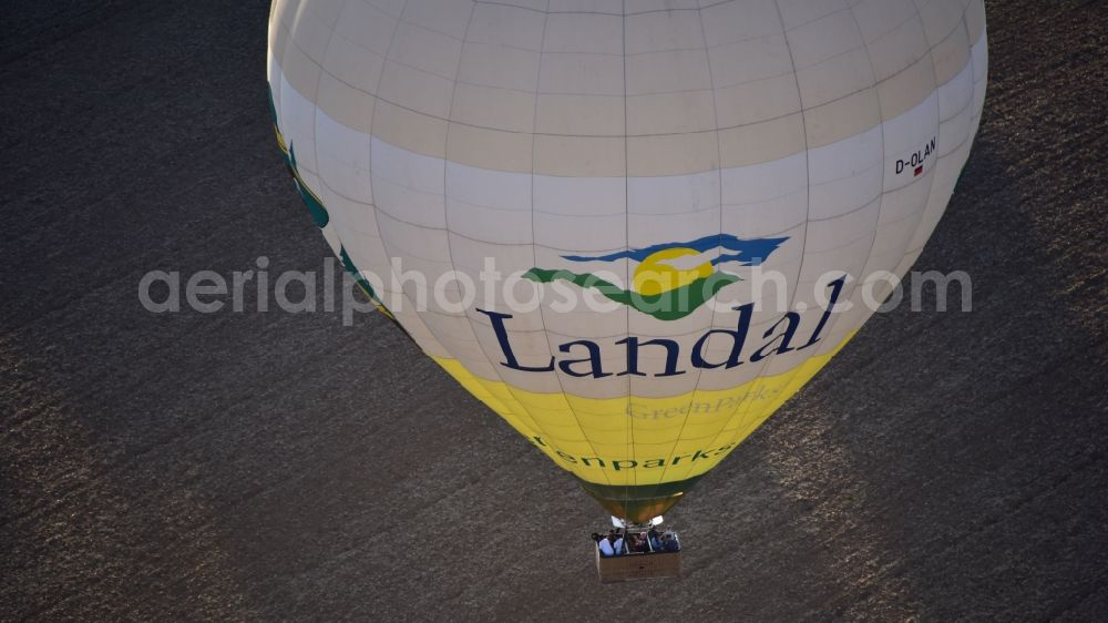 Bonn from the bird's eye view: Balloon with advertising from Landal GreenParks GmbH in Bonn in the state North Rhine-Westphalia, Germany
