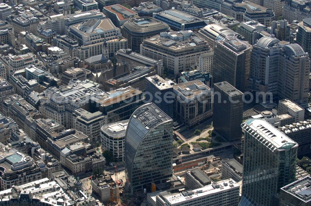 Aerial image London - Views of a banking and business district between London Wall and Cheapside in the district City of London in London in the county of Greater London in the UK. Here are among others the Commerzbank, Standard Chartered Bank, the City of London police headquarters, the Mayor's and City of London Court as well as various galleries and museums located.
