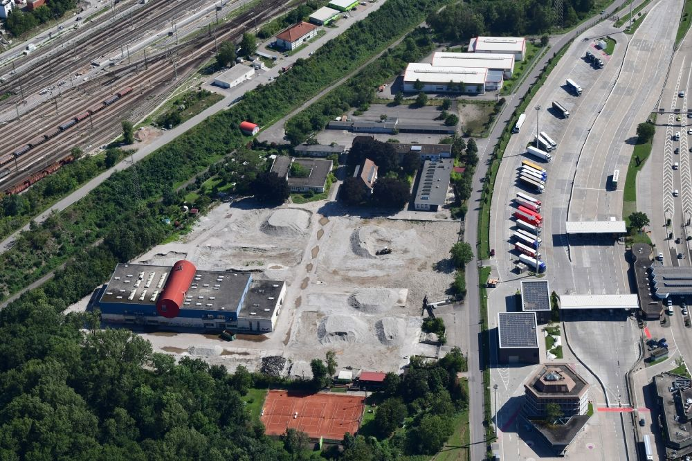 Weil am Rhein from the bird's eye view: Demolition and dismantling of buildings on the former factory grounds of foil manufacturer Lofo at the motorway border control Germany / Switzerland in Weil am Rhein in the state Baden-Wurttemberg, Germany