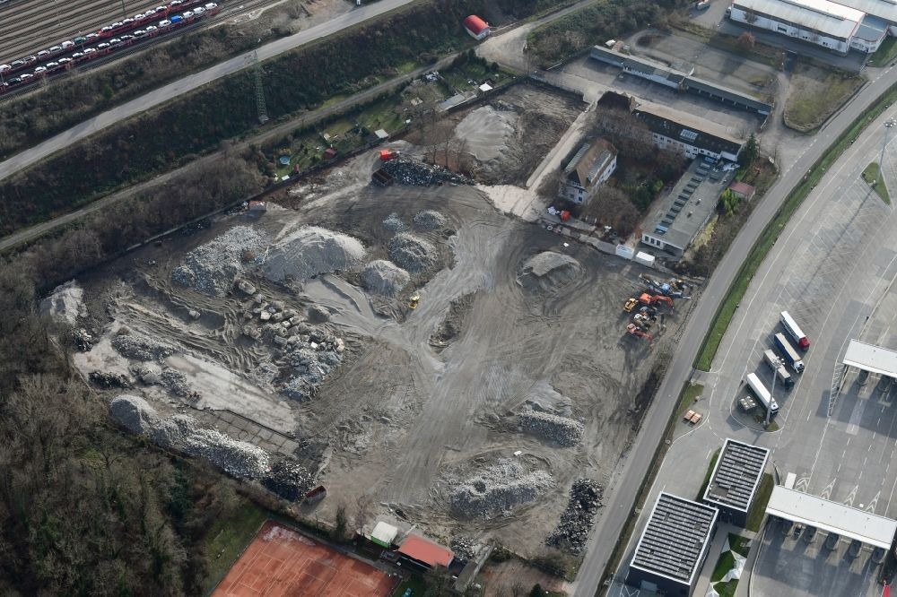 Aerial image Weil am Rhein - Demolition and dismantling of buildings on the former factory grounds of foil manufacturer Lofo at the motorway border control Germany / Switzerland in Weil am Rhein in the state Baden-Wurttemberg, Germany