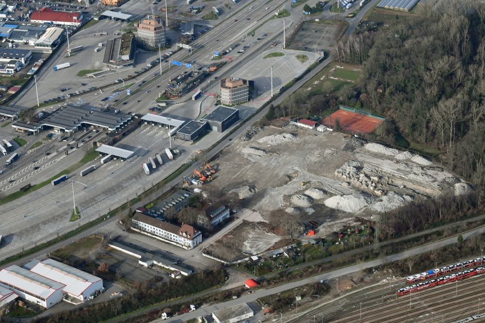 Weil am Rhein from above - Demolition and dismantling of buildings on the former factory grounds of foil manufacturer Lofo at the motorway border control Germany / Switzerland in Weil am Rhein in the state Baden-Wurttemberg, Germany