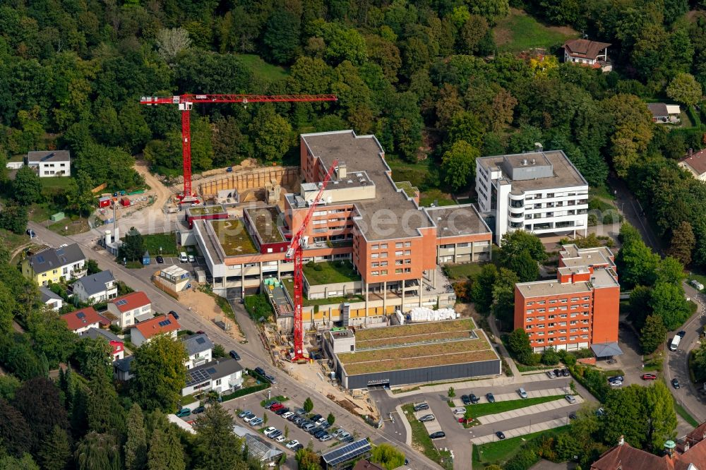 Aerial photograph Emmendingen - Construction site for a new extension to the hospital grounds in Emmendingen in the state Baden-Wuerttemberg, Germany