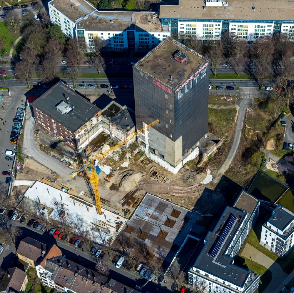 Aerial image Dortmund - Construction site on the site of the industrial ruin Kronenturm of the former Kronen brewery for the construction of a residential building for rental apartments with underground parking on the Kronenstrasse in Dortmund in the state North Rhine-Westphalia, Germany