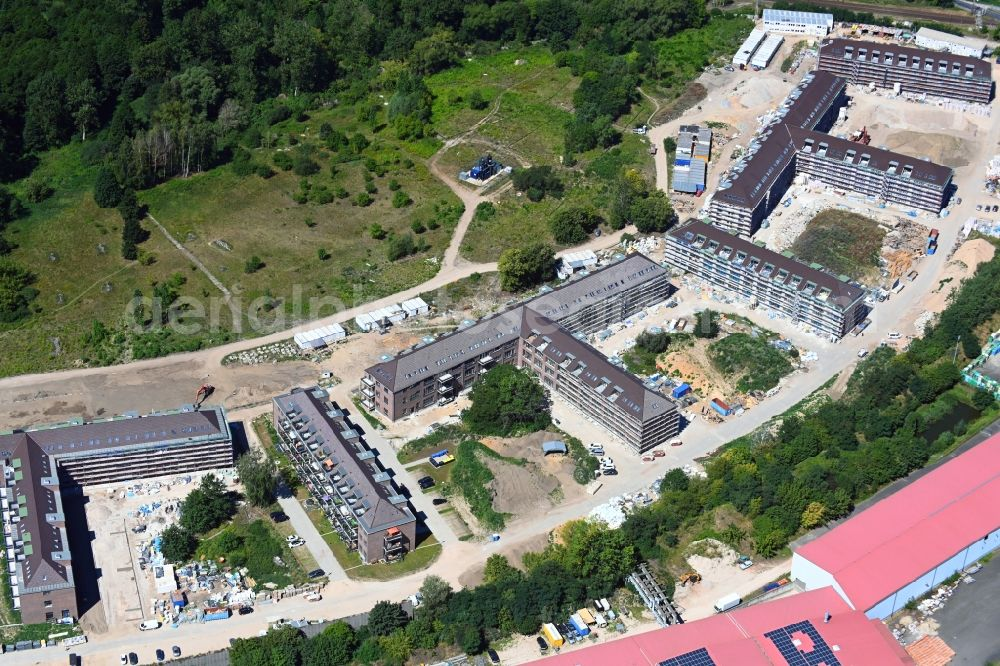 Aerial image Bernau - Construction site for the renovation and reconstruction of the building complex of the former military barracks Sanierungsgebiet Panke-Park on Schoenfelder Weg in Bernau in the state Brandenburg, Germany
