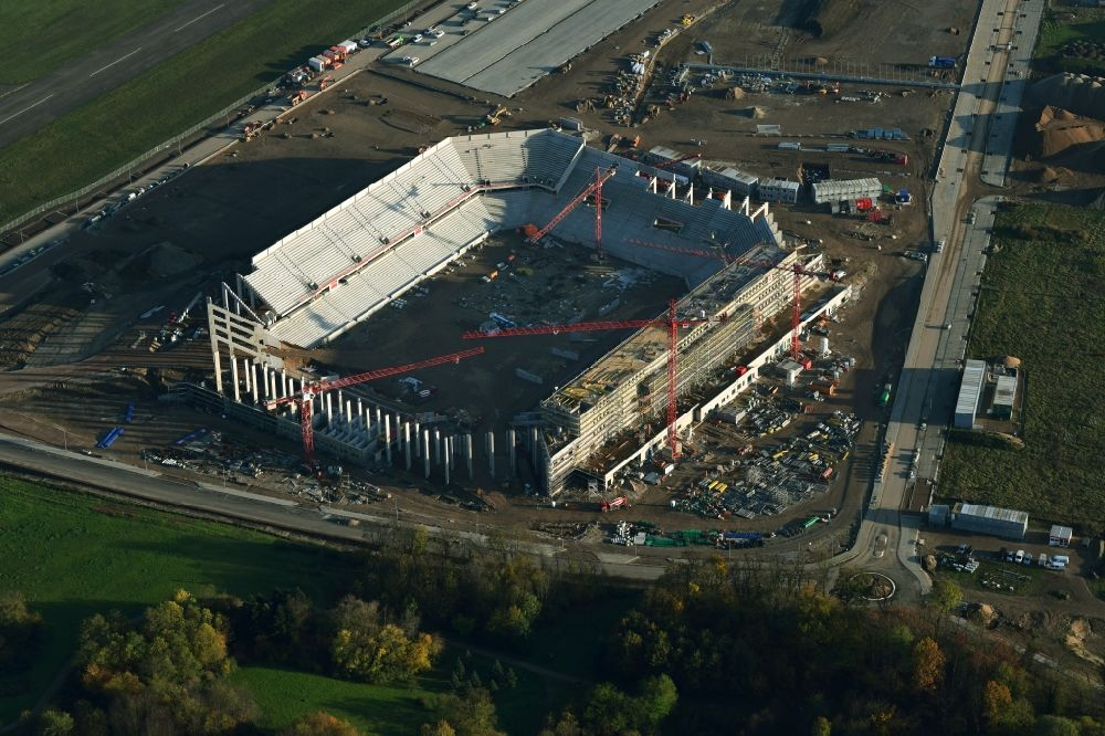 Aerial image Freiburg im Breisgau - Construction site on the sports ground of the stadium SC-Stadion of Stadion Freiburg Objekttraeger GmbH & Co. KG (SFG) in the district Bruehl in Freiburg im Breisgau in the state Baden-Wuerttemberg, Germany. The new stadium is next to the airport EDTF