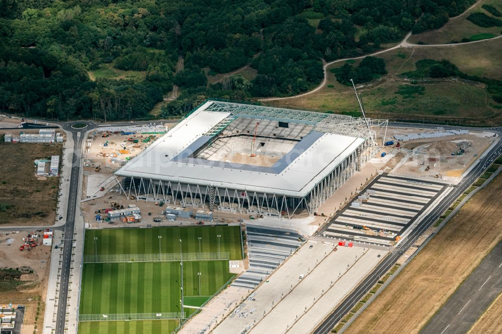 Aerial photograph Freiburg im Breisgau - Construction site on the sports ground of the stadium SC-Stadion of Stadion Freiburg Objekttraeger GmbH & Co. KG (SFG) in the district Bruehl in Freiburg im Breisgau in the state Baden-Wurttemberg, Germany