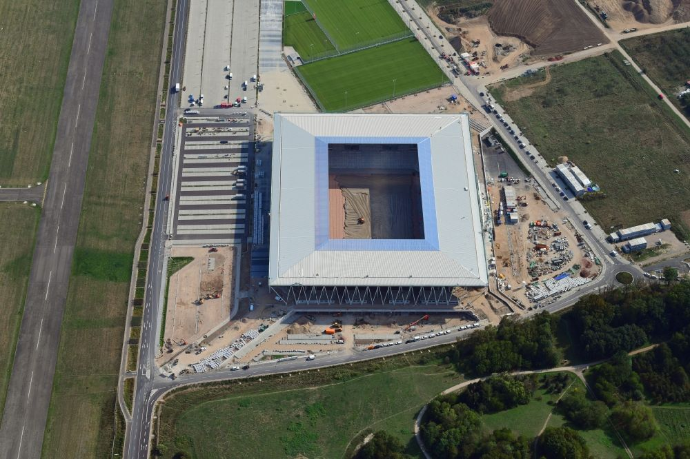Aerial image Freiburg im Breisgau - Construction site on the sports ground of the stadium SC-Stadion of Stadion Freiburg Objekttraeger GmbH & Co. KG (SFG) in the district Bruehl in Freiburg im Breisgau in the state Baden-Wurttemberg, Germany