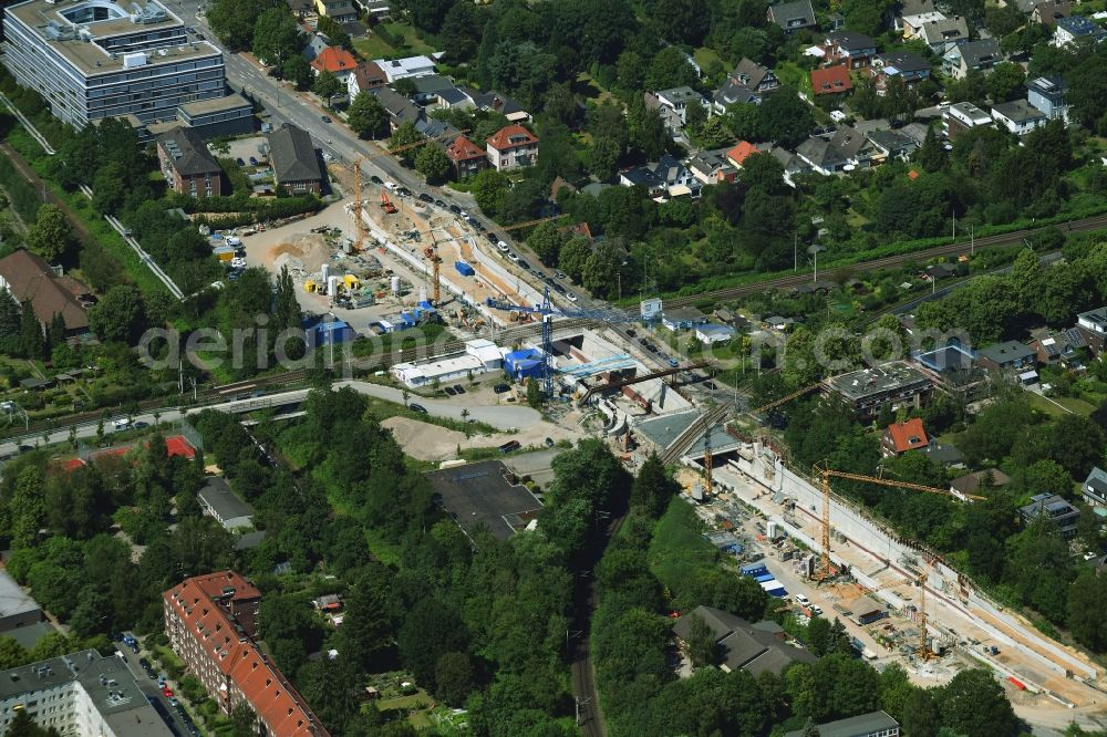 Hamburg from the bird's eye view: Construction site with tunnel guide for the route of Hammer Trog along the Hammer Strasse in the district Eilbek in Hamburg, Germany