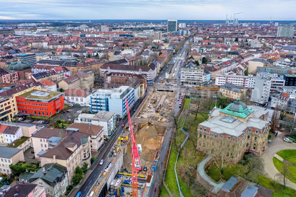Aerial photograph Karlsruhe - Construction site with tunnel guide for the route of Kriegsstrasse in the district Suedweststadt in Karlsruhe in the state Baden-Wurttemberg, Germany