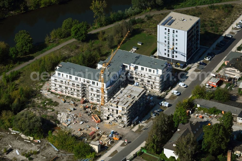 Halle (Saale) from the bird's eye view: Residential construction site with multi-family housing development- on the Sophienhafen in Halle (Saale) in the state Saxony-Anhalt, Germany