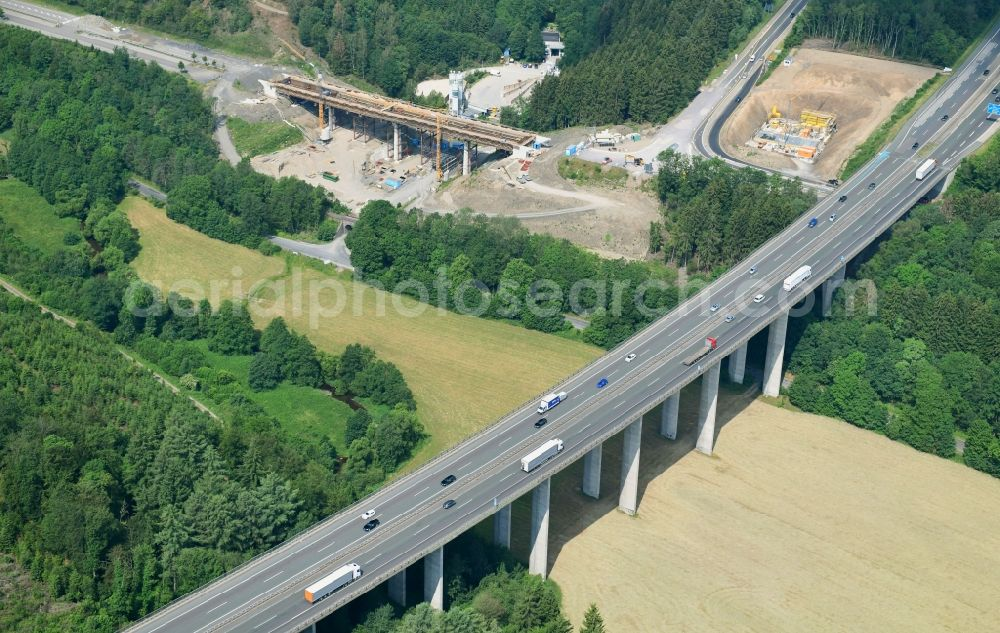 Olpe from above - New construction of the bridge structure of Talbruecke Oehringhausen in Olpe in the state North Rhine-Westphalia, Germany