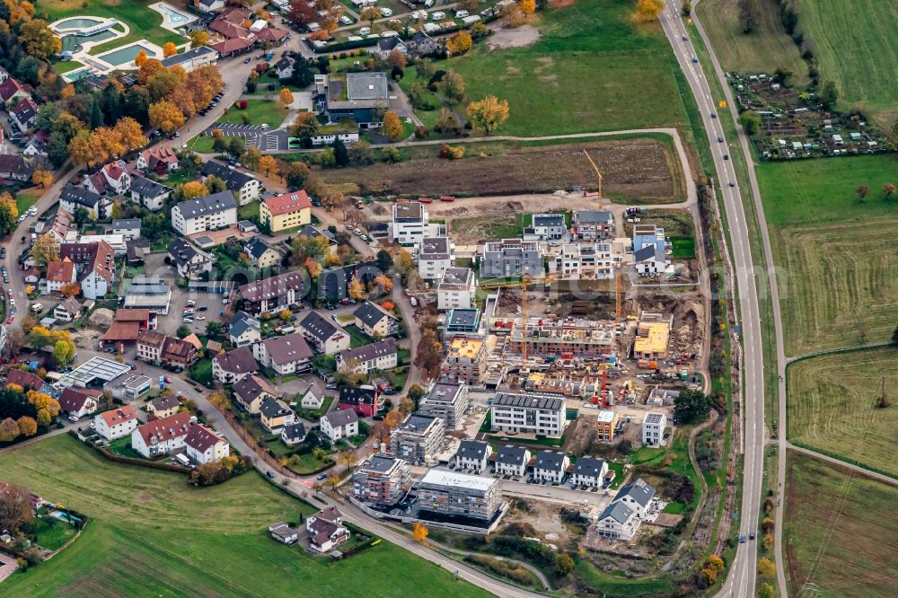 Aerial photograph Kirchzarten - Construction site for the new building Einfamilienhaus Siedlung in Kirchzarten in the state Baden-Wurttemberg, Germany
