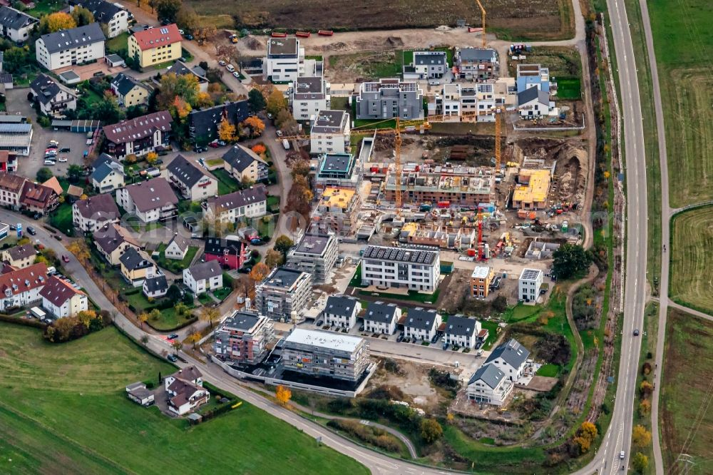 Kirchzarten from above - Construction site for the new building Einfamilienhaus Siedlung in Kirchzarten in the state Baden-Wurttemberg, Germany