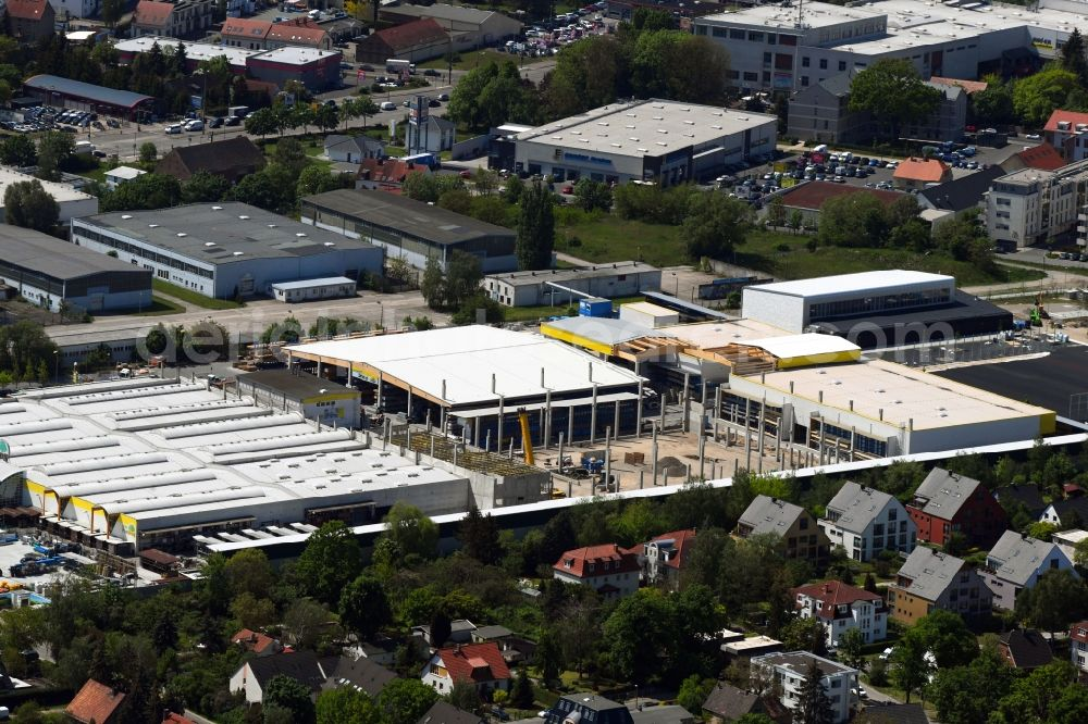 Aerial image Berlin - Construction site for new construction building of the construction market on Landsberger Strasse in the district Mahlsdorf in Berlin, Germany