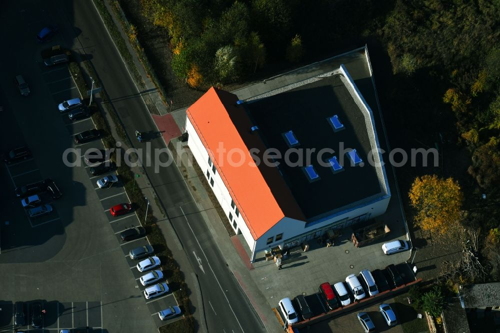 Aerial image Werneuchen - New construction of the building complex of the shopping center einer Rossmann-Filiale on Schulstrasse in Werneuchen in the state Brandenburg, Germany