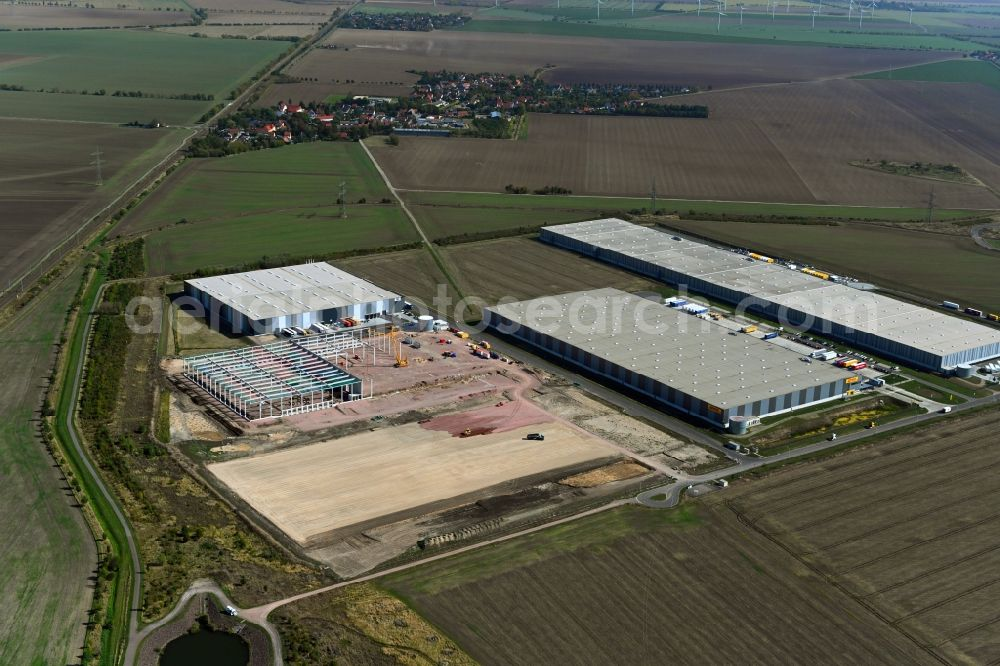 Aerial photograph Halle (Saale) - Construction site to build a new building complex on the site of the logistics center on Wegastrasse in the district Peissen in Halle (Saale) in the state Saxony-Anhalt, Germany