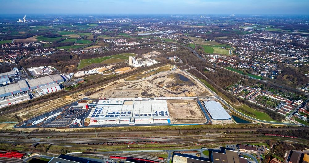 Aerial photograph Dortmund - Construction site to build a new building complex on the site of the logistics center REWE DORTMUND Grosshandel eG on Rueschebrinkstrasse in Dortmund in the state North Rhine-Westphalia, Germany