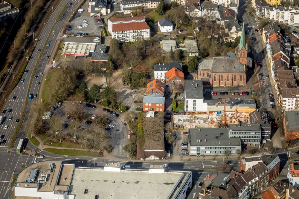 Hattingen from the bird's eye view: Construction site to build a new multi-family residential complex of Central Wohnen Immobilien GmbH in of Bahnhofstrasse in Hattingen in the state North Rhine-Westphalia, Germany