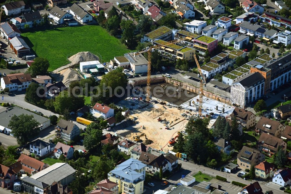 Schorndorf from the bird's eye view: Construction site to build a new multi-family residential complex Muehlenviertel in Schorndorf in the state Baden-Wuerttemberg, Germany