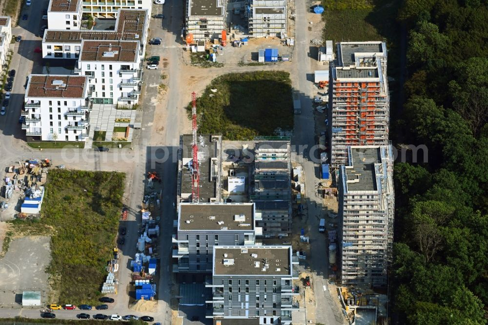 Aerial image Wolfsburg - Construction site to build a new multi-family residential complex Reislinger Strasse - Hellwinkel Terassen - Nelkenweg - Lerchenweg in the district Hellwinkel in Wolfsburg in the state Lower Saxony, Germany