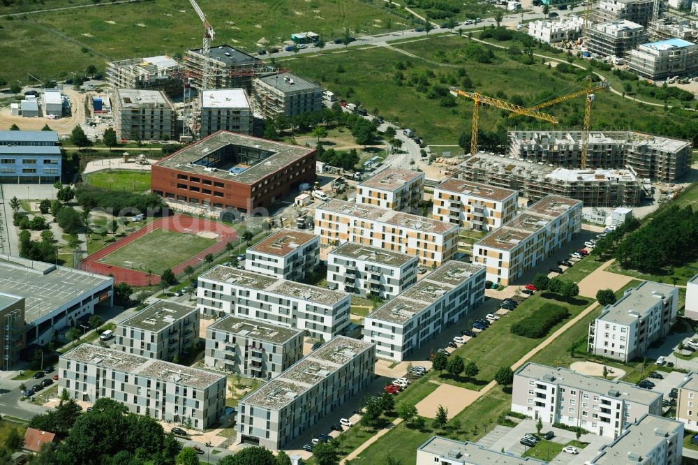 Schönefeld from above - Construction site to build a new multi-family residential complex Theodor-Fontane-Hoefe of DIE Deutsche Immobilien Entwicklungs AG on Theodor-Fontane-Allee in Schoenefeld in the state Brandenburg, Germany