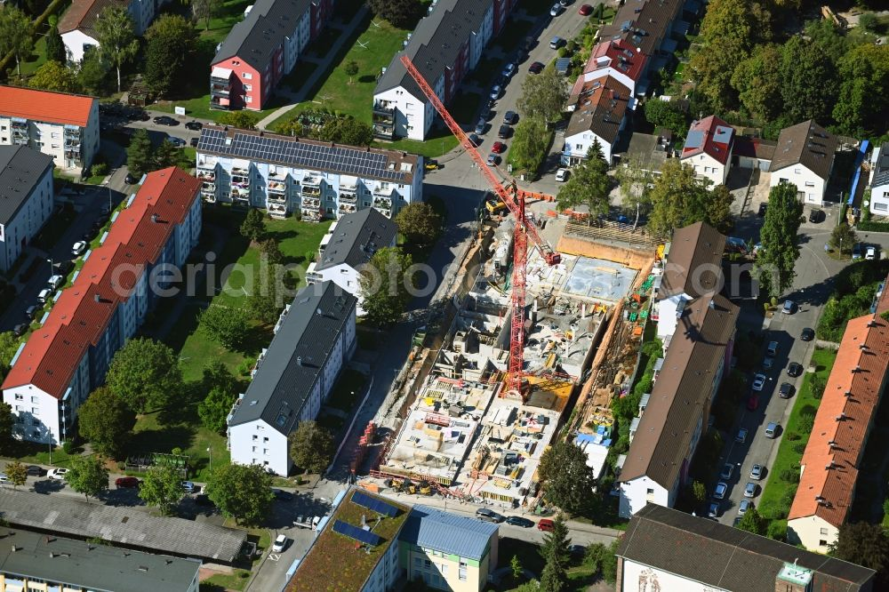 Aerial image Stuttgart - Construction site to build a new multi-family residential complex on Murrhardter Strasse in the district Rot in Stuttgart in the state Baden-Wuerttemberg, Germany