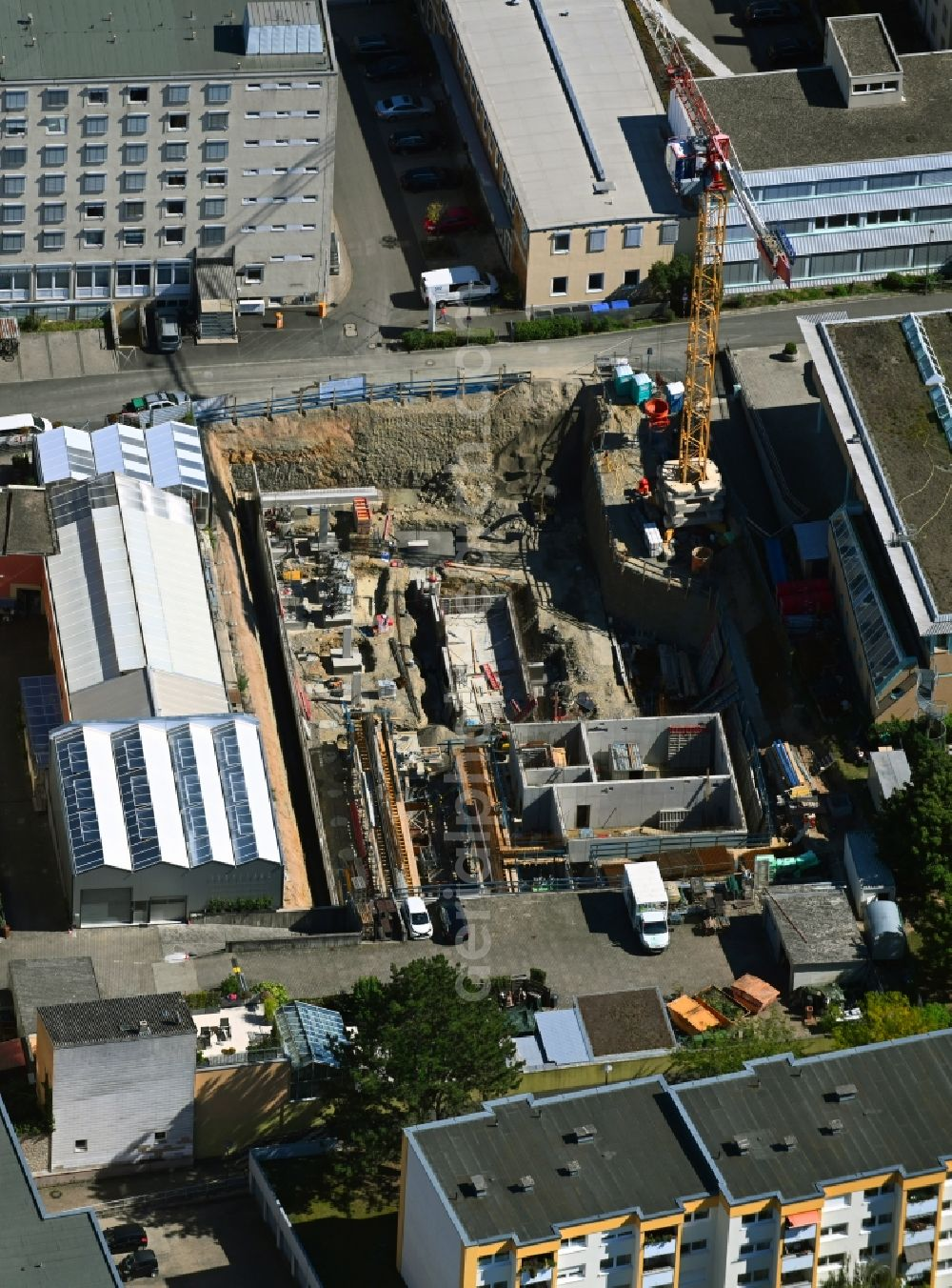 Würzburg from above - Construction site to build a new multi-family residential complex in the district Zellerau in Wuerzburg in the state Bavaria, Germany