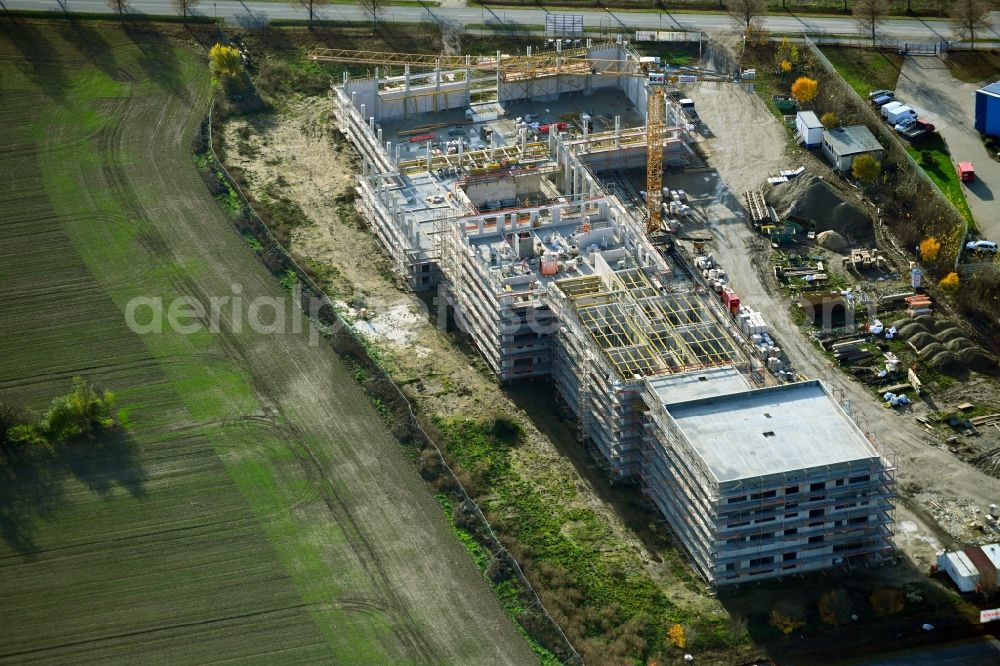 Aerial image Ahrensfelde - New construction site of the school building between Ahrensfelof Chaussee in the district Lindenberg in Ahrensfelde in the state Brandenburg, Germany