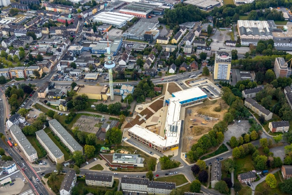 Velbert from above - New construction site of the school building on Kastanienallee in Velbert in the state North Rhine-Westphalia, Germany