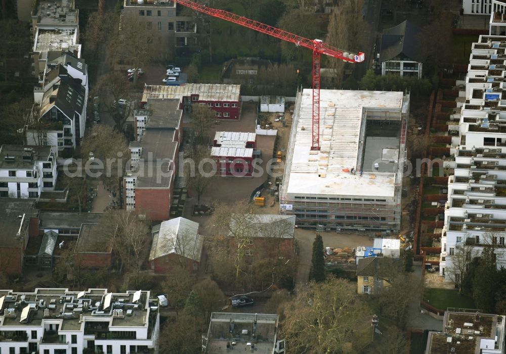 Aerial image Hamburg - New construction site of the school building on Klosterstieg in the district Harvestehude in Hamburg, Germany