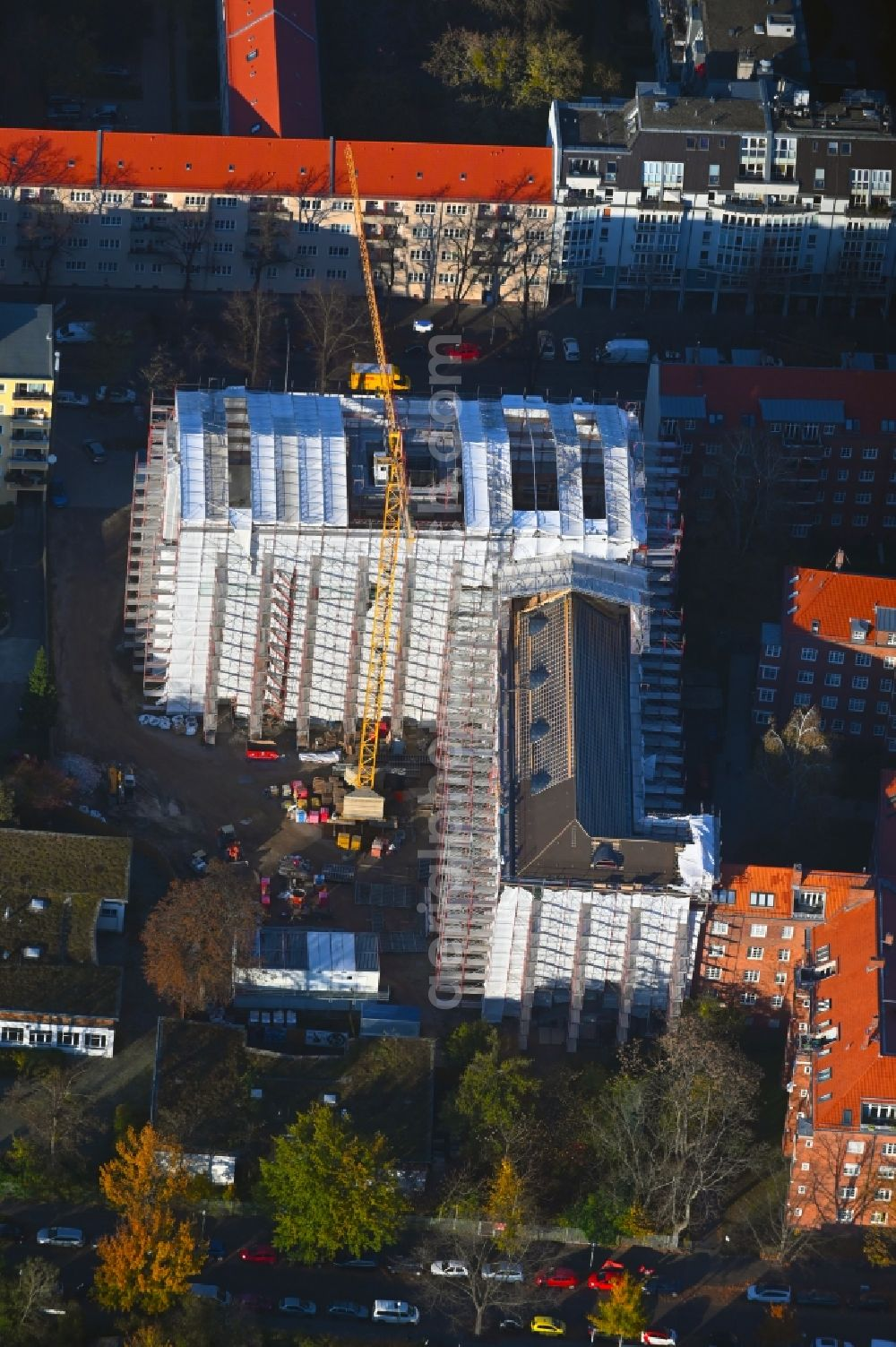 Berlin from above - New construction site of the school building Luise-Henriette-Gymnasium on Germaniastrasse - Goetzstrasse in the district Tempelhof in Berlin, Germany