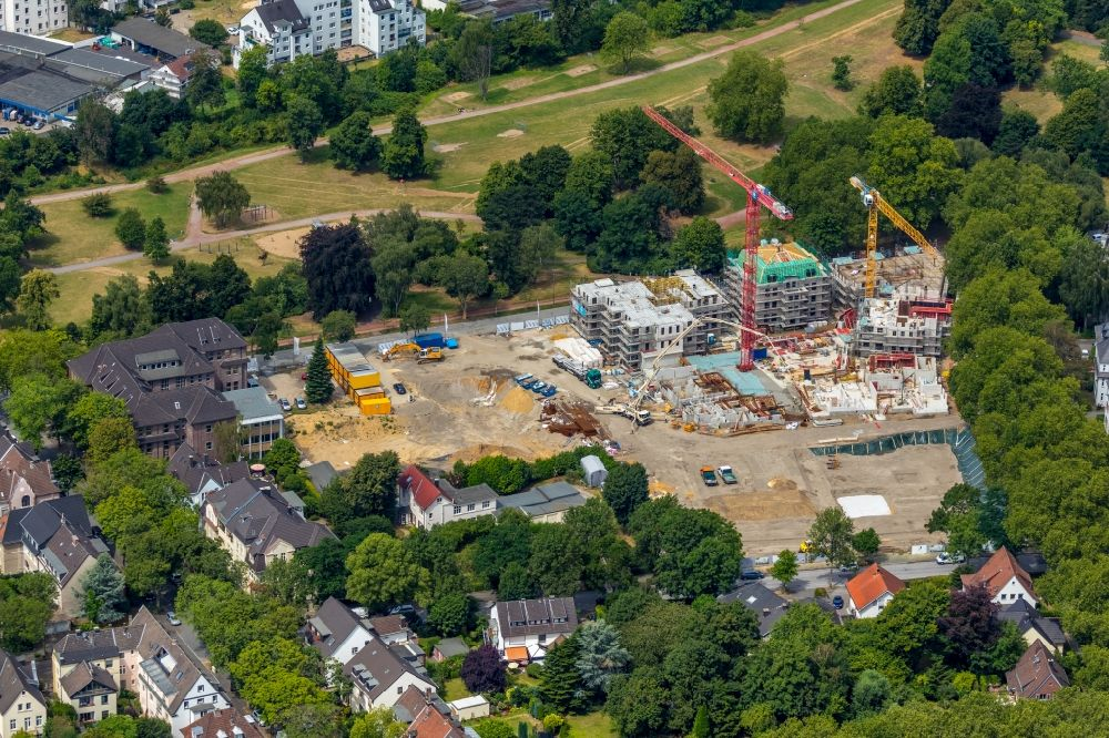 Aerial image Bochum - Construction site for the city villa - multi-family residential building on Wielandstrasse - Herderallee - Lessingstrasse in the district Grumme in Bochum in the state North Rhine-Westphalia, Germany. Further information at: DREssLER BAU GmbH.