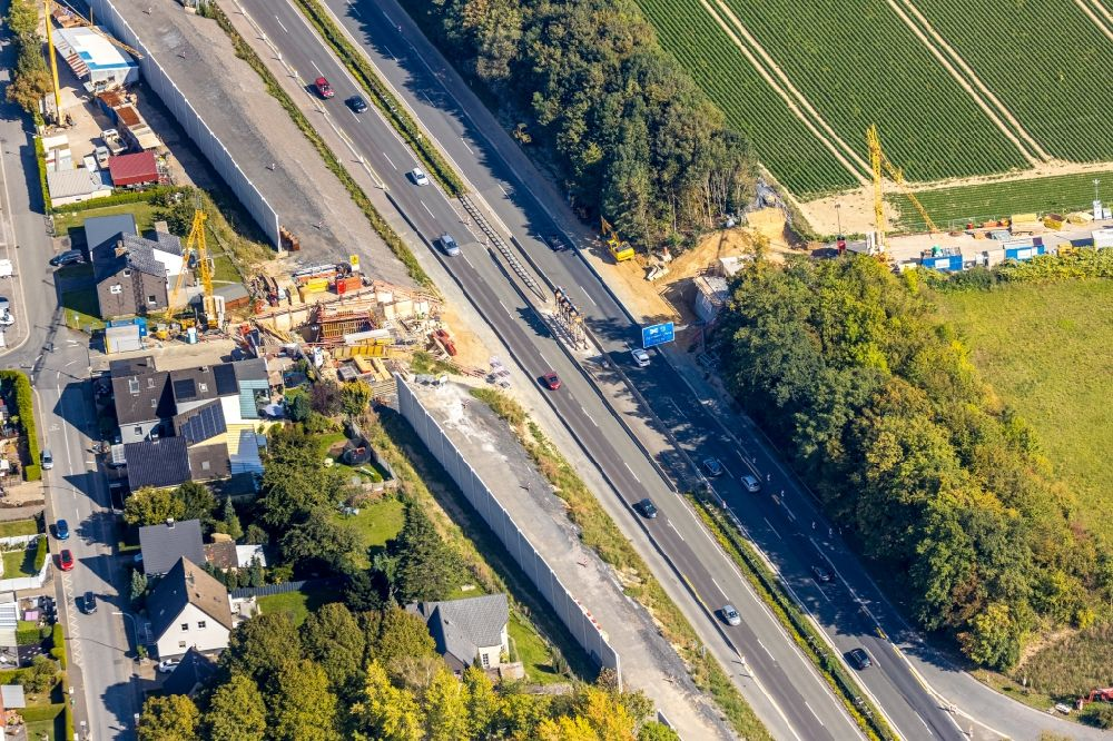 Aerial photograph Holzwickede - Construction of road bridge along the Kurze Strasse over the highway B1 in Holzwickede in the state North Rhine-Westphalia, Germany