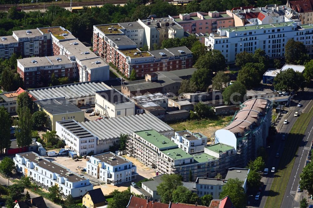 Aerial image Berlin - Construction site for the new residential and commercial building on the Mahlsdorfer Strasse - Hirtenstrasse in the district Koepenick in Berlin, Germany
