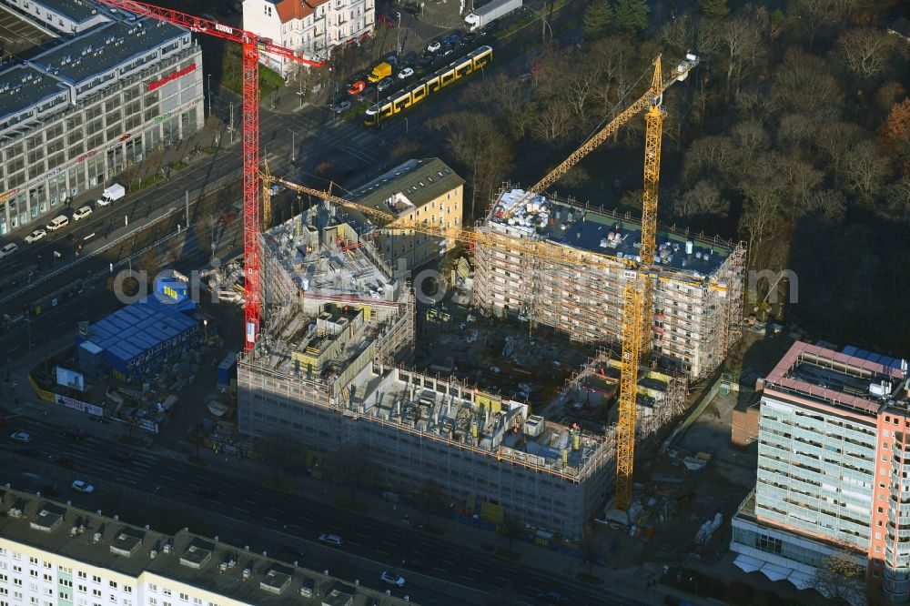 Berlin from the bird's eye view: Construction site for the new residential and commercial building on the Rathausstrasse in the district Lichtenberg in Berlin, Germany