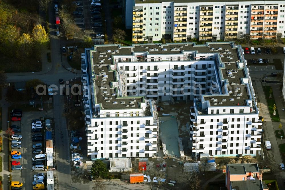 Aerial photograph Berlin - Construction site for the multi-family residential building V on Rosenbecker Strasse - Eichhorster Strasse in the district Marzahn in Berlin, Germany