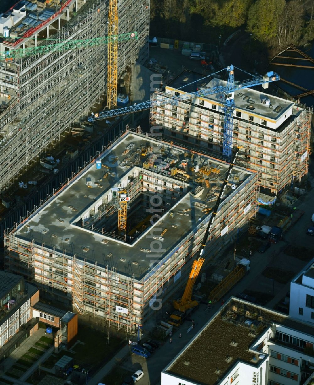 Aerial photograph Berlin - Construction site for the multi-family residential building on Glasblaeserallee in the district Friedrichshain in Berlin, Germany