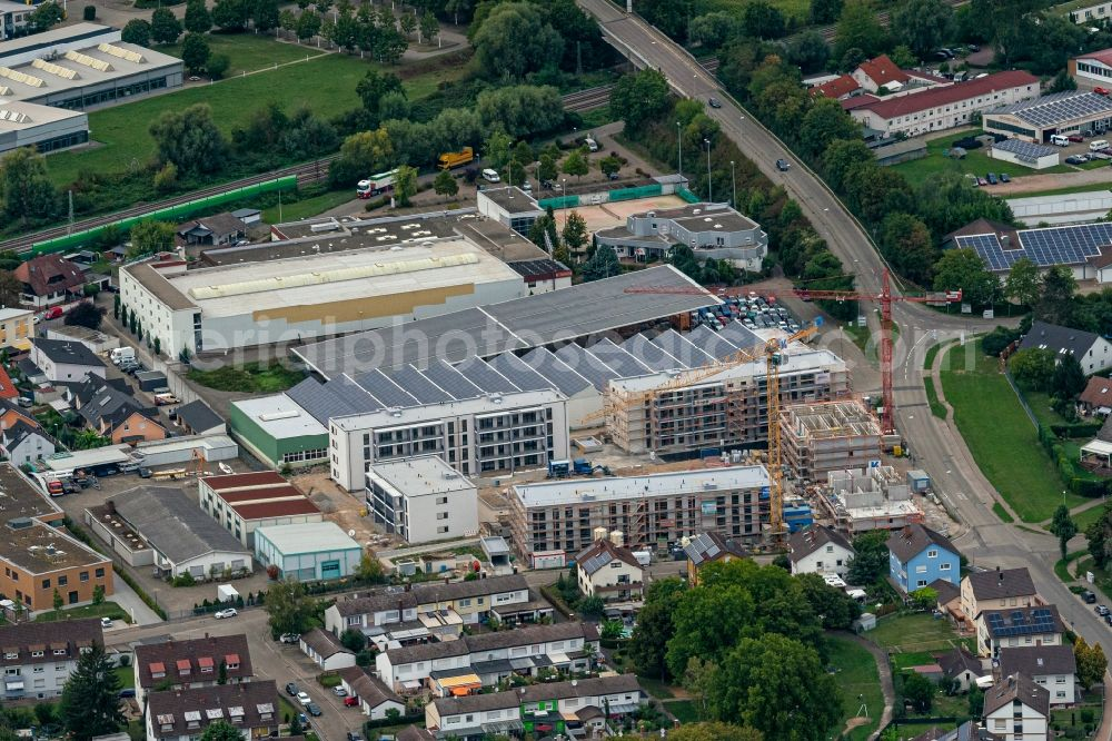 Aerial image Kenzingen - Construction site for the multi-family residential building in Kenzingen in the state Baden-Wuerttemberg, Germany