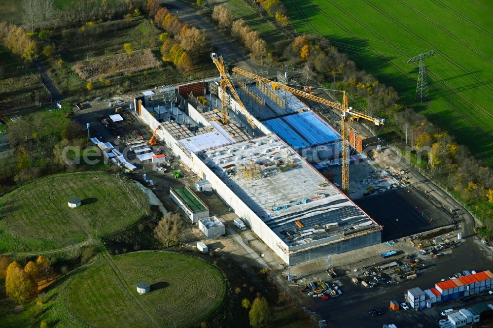 Aerial image Lindenberg - Construction site for the new building pumping station in Lindenberg in the state Brandenburg, Germany