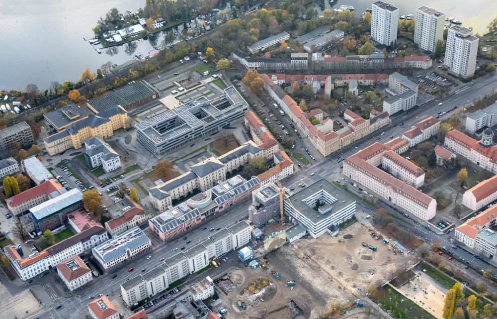 Potsdam from above - Construction site for the reconstruction of the Garnisonkirche Potsdam in Potsdam in the federal state of Brandenburg, Germany