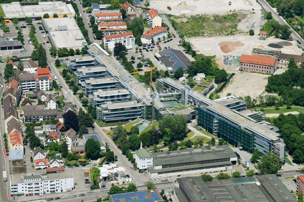 Augsburg from above - Construction site for refurbishment of the building complex of the German pension insurance Swabia in Augsburg in the federal state of Bavaria, Germany. Further information at: Deutsche Rentenversicherung Schwaben, Hascher Jehle Assoziierte GmbH.