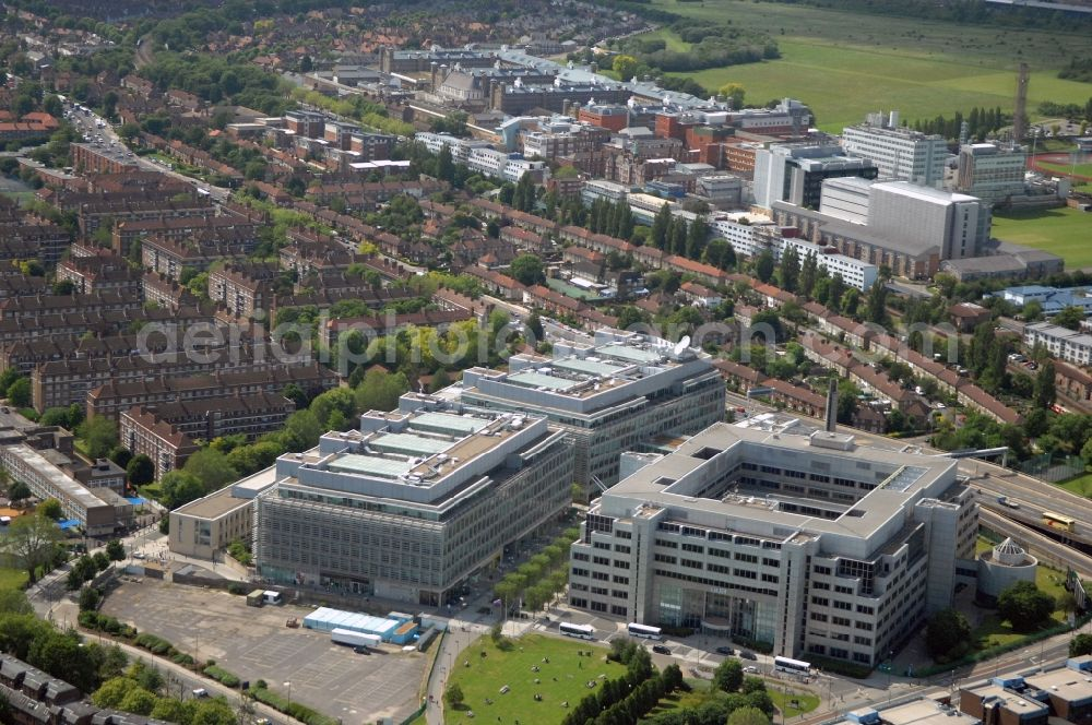 Aerial image London - View at the BBC White City Media Village in the district of Hammersmith and Fulham in London in the county of Greater London in the UK. In the complex of the public service broadcaster BBC British Broadcsting Corporation are among others also private shopping and sports facilities such as TESCO and various gyms accommodated