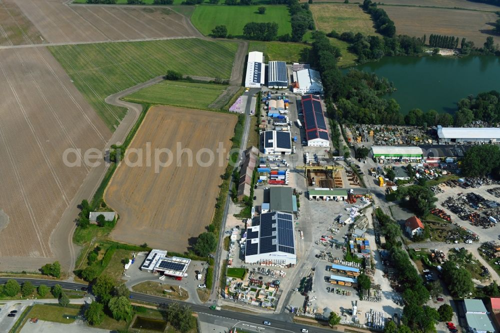 Mittenwalde from above - Depot with the headquarters of GAAC Commerz GmbH in the commercial area Mittenwalde in Brandenburg