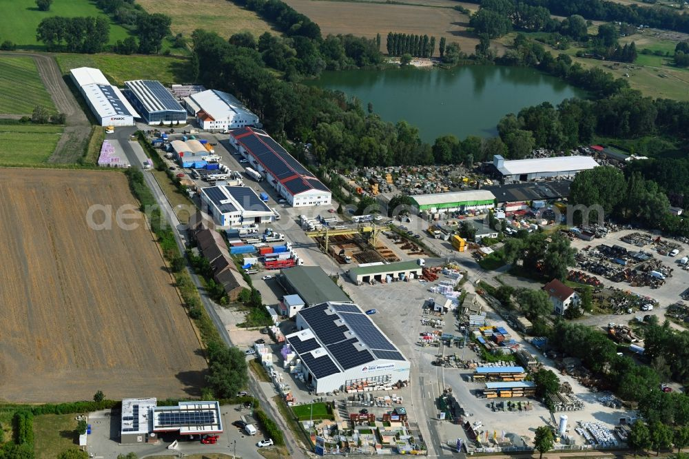 Mittenwalde from the bird's eye view: Depot with the headquarters of GAAC Commerz GmbH in the commercial area Mittenwalde in Brandenburg