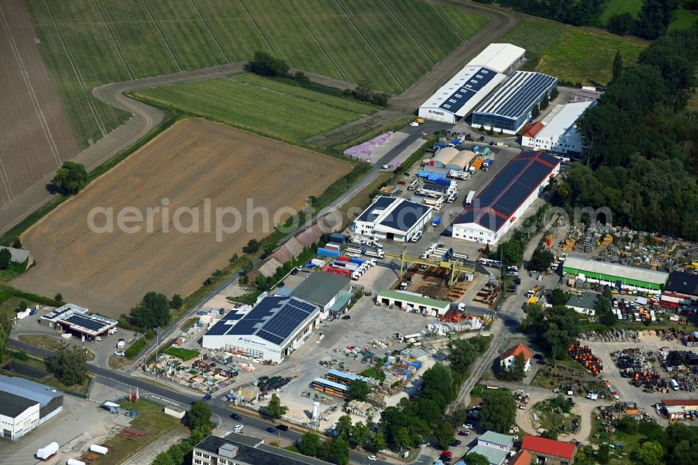 Aerial image Mittenwalde - Depot with the headquarters of GAAC Commerz GmbH in the commercial area Mittenwalde in Brandenburg
