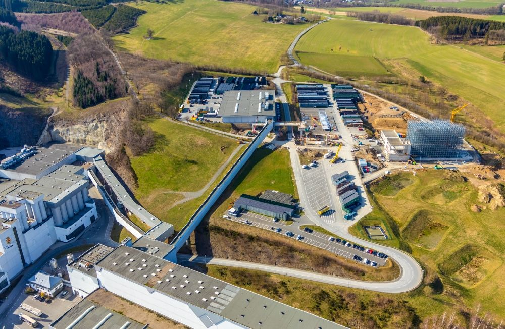 Grevenstein from the bird's eye view: Buildings and production halls on the factory premises of the brewery - Veltinsbrauerei An der Streue in Grevenstein in the state of North Rhine-Westphalia