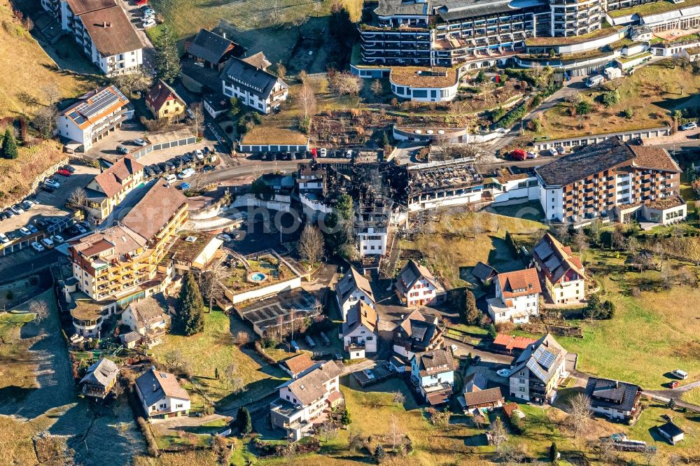 Aerial photograph Baiersbronn - Fire- Ruins Gourmet Restaurant Traube Tonbach in Baiersbronn in the state Baden-Wurttemberg, Germany